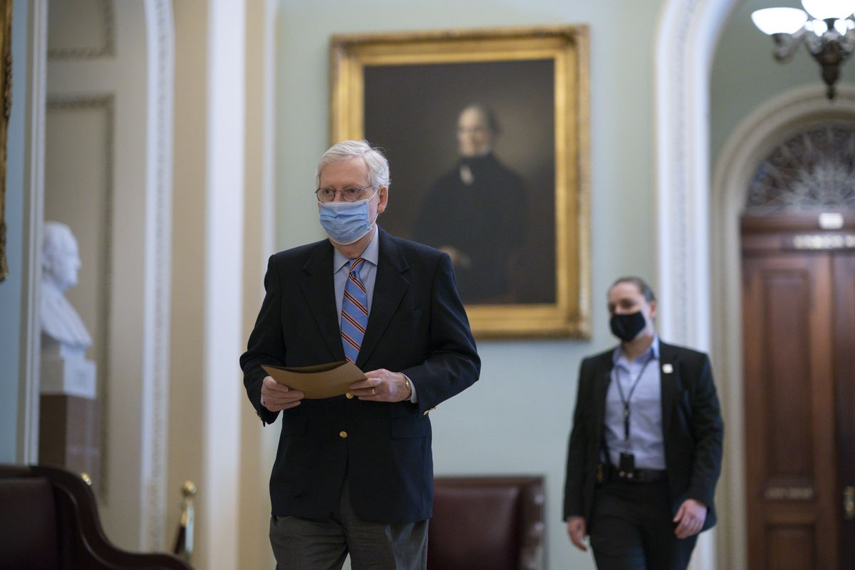 Senate Minority Leader Mitch McConnell, R-Ky., arrives at the Capitol in Washington, Friday, March 5, 2021, as the Senate steers toward a voting marathon on Democrats' $1.9 trillion COVID-19 relief bill that's expected to end with the chamber's approval of the measure.