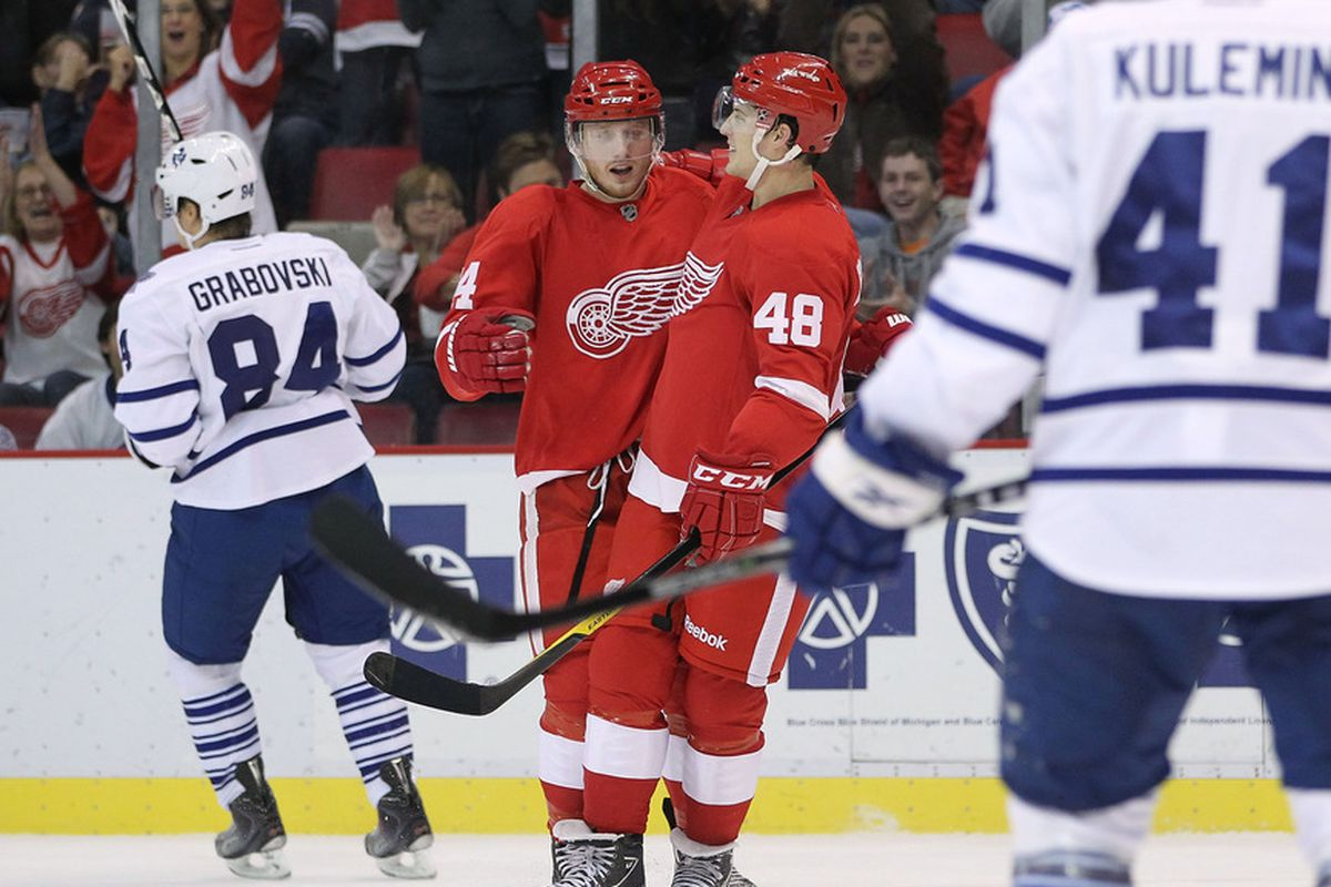 The Red Wings twitter gurus  (Photo by Gregory Shamus/Getty Images)