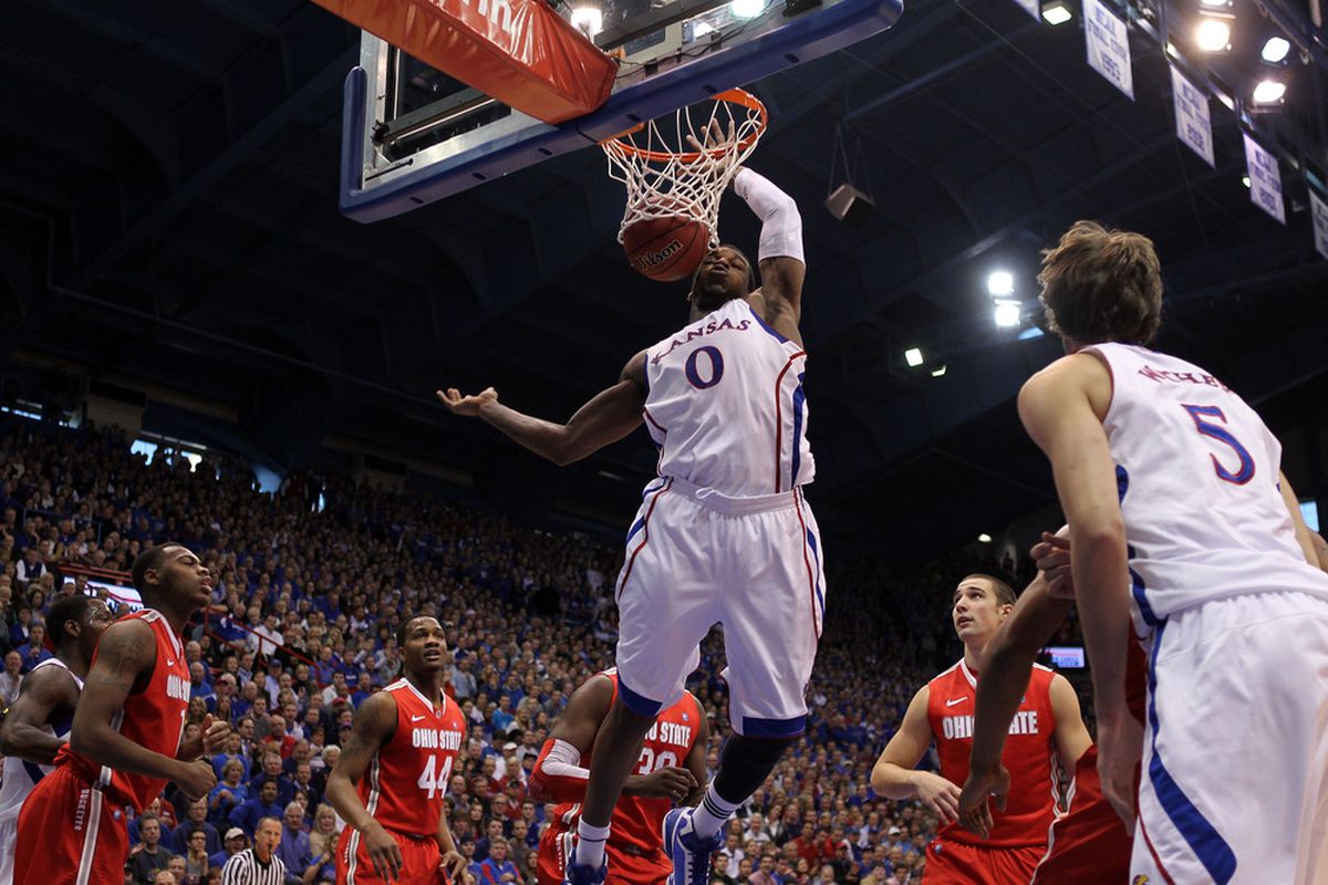 LAWRENCE, KS - DECEMBER 10:  Thomas Robinson #0 of the Kansas Jayhawks scores against the Ohio State Buckeyes during the game on December 10, 2011 at Allen Fieldhouse in Lawrence, Kansas.  (Photo by Jamie Squire/Getty Images)