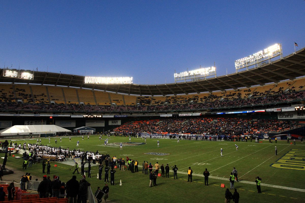 WASHINGTON, DC - DECEMBER 28: The Toledo Rockets kick off to the Air Force Falcons during the first half of the Military Bowl at RFK Stadium on December 28, 2011 in Washington, DC.  (Photo by Rob Carr/Getty Images)
