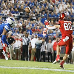 Utah Utes tight end Brant Kuithe (80) catches the ball ahead of a touchdown as they compete against BYU during the first half of an NCAA college football gameat LaVell Edwards Stadium in Provo on Saturday, Sept. 11, 2021.