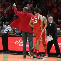 Utah Utes head coach Larry Krystkowiak gestures to have Brigham Young Cougars guard Nick Emery (4) ejected from the game as Utah and BYU play in the Huntsman Center in Salt Lake City Wednesday, Dec. 2, 2015. Utah won 83-75.