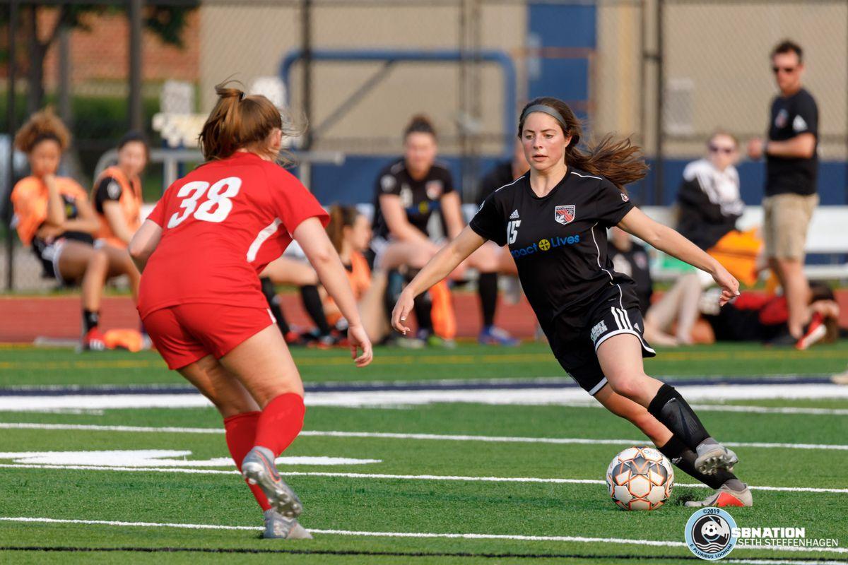 June 2, 2019 - Saint Paul, Minnesota, United States - A Fire SC 98 player marks MapleBrook midfielder Sarah Johnston during a match at Sea Foam Stadium.