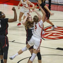 Utah Utes' forward Zuzanna Puc (5) shoots the ball during a women's basketball game at the Huntsman Center in Salt Lake City on Friday, Jan. 15, 2021.