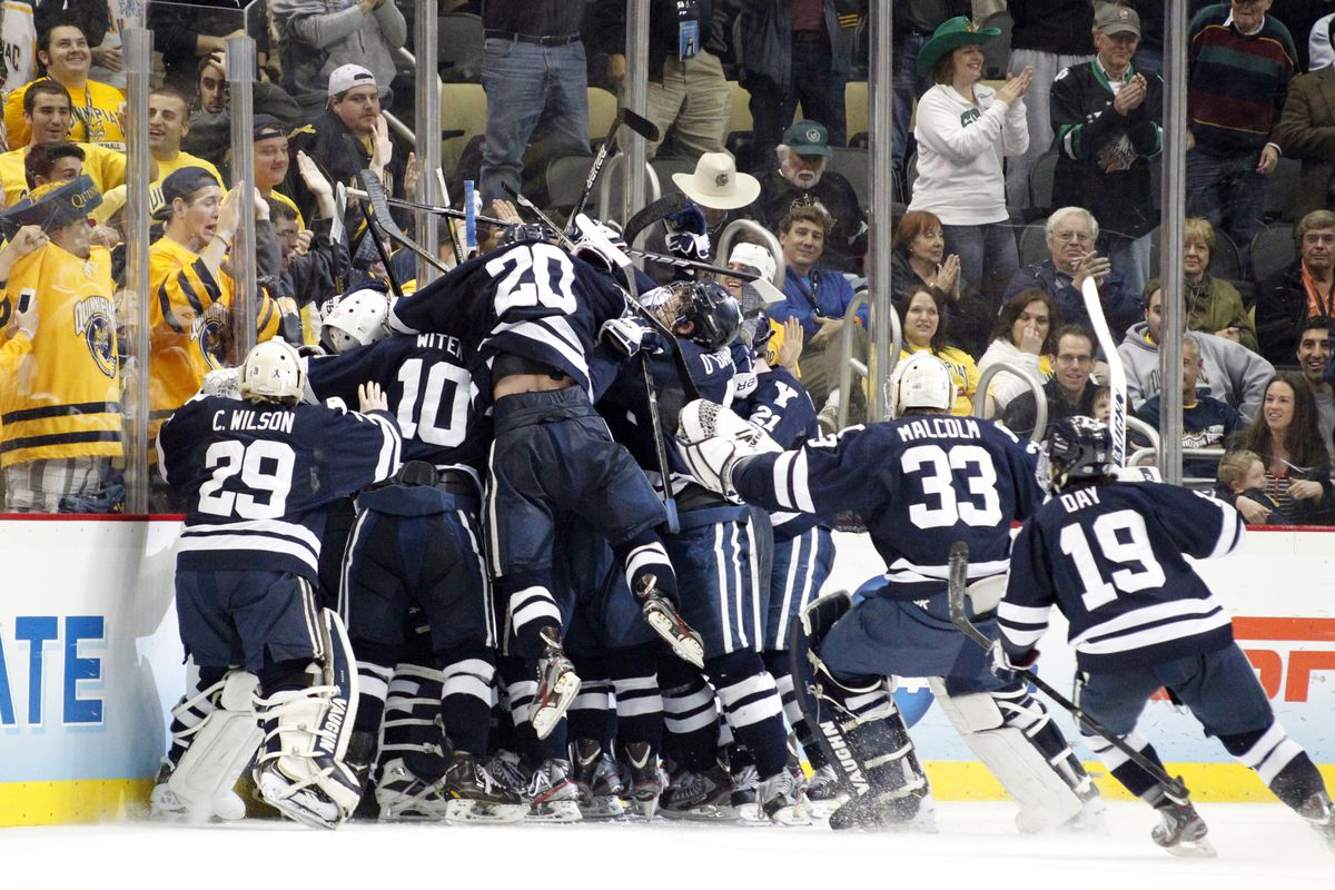 Yale celebrates following their overtime win over UMass Lowell. The Bulldogs had reason again to celebrate Saturday night as they won the school's first ever NCAA Championship