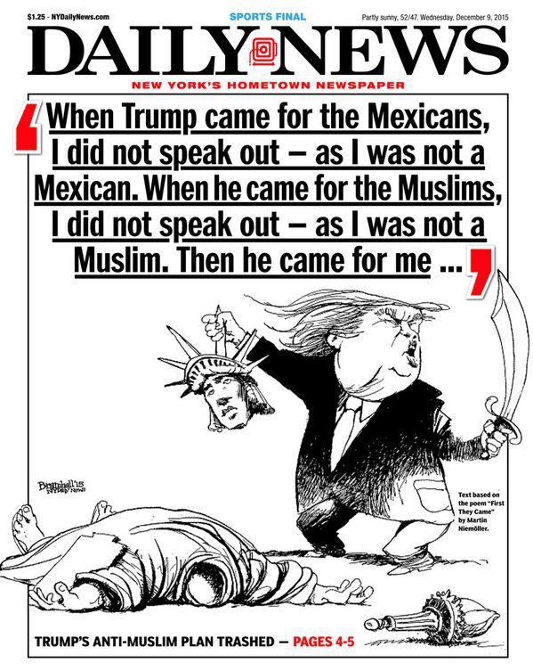 The New York Daily News takes on Donald Trump's Islamophobia.