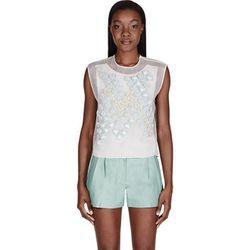 "<b>3.1Phillip Lim</b> blouse, <a href=""https://www.ssense.com/women/product/31_phillip_lim/ivory-embellished-silk-blouse/89090"">$143</a>"