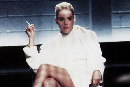 "Sharon Stone in the famous interrogation scene from ""Basic Instinct."""