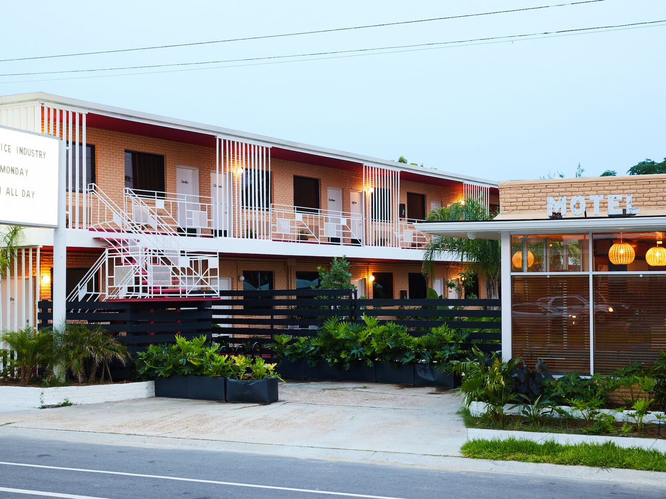 """The Drifter Motel in New Orleans. """"The motel, by nature of its privacy, cost and roadside location, makes it the democracy of hospitality, claimed in equal measure by the lone traveler, the family, the trysters, explorers, adventurers, and weary travelers."""""""