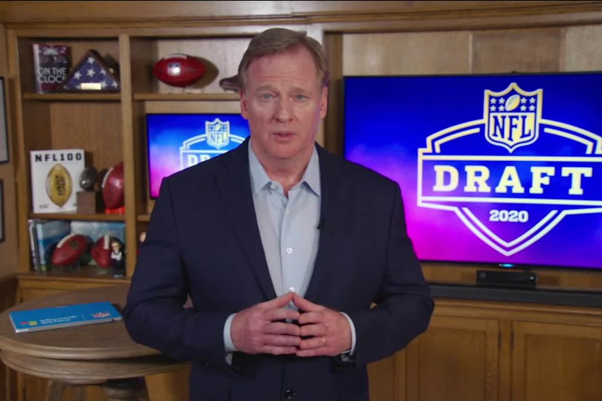 In this still image from video provided by the NFL, NFL Commissioner Roger Goodell speaks from his home in Bronxville, New York during the first round of the 2020 NFL Draft on April 23, 2020.