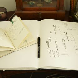 Pages from the designer's sketchbook.