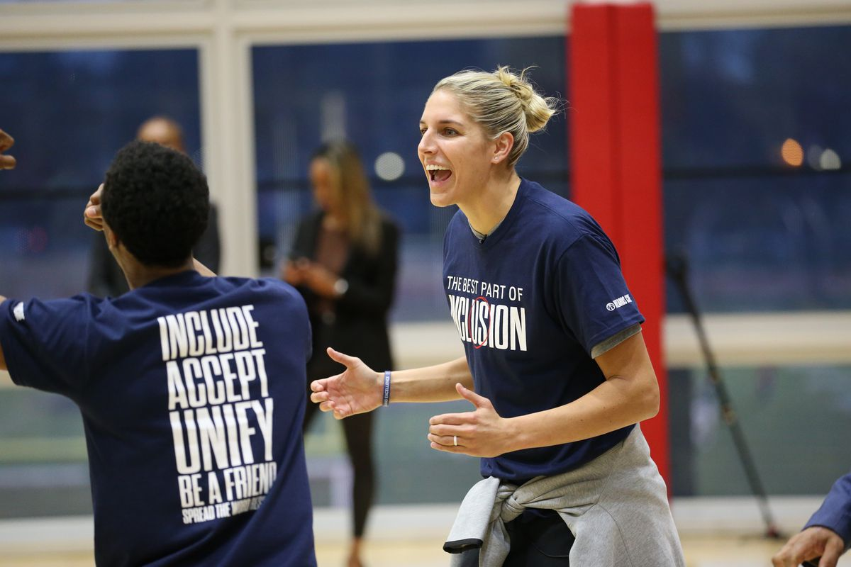 Elena Delle Donne of the Washington Mystics reacts to a play during a Special Olympics game with DC area residents on March 9, 2020 in Washington, DC.