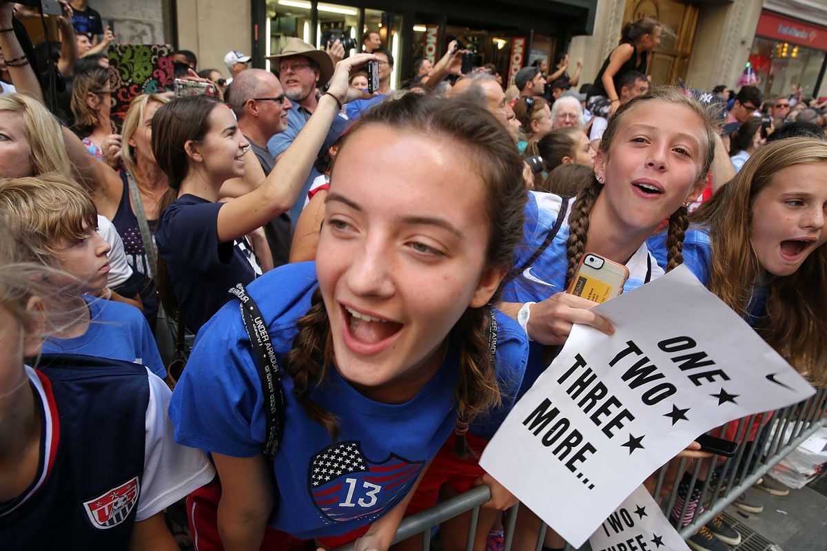 Young fans at the USWNT ticker-tape parade in New York City last week.