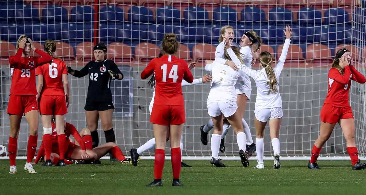 Davis celebrates after scoring on American Fork in overtime to win the 6A girls soccer state championship at Rio Tinto Stadium in Sandy on Friday, Oct. 23, 2020.