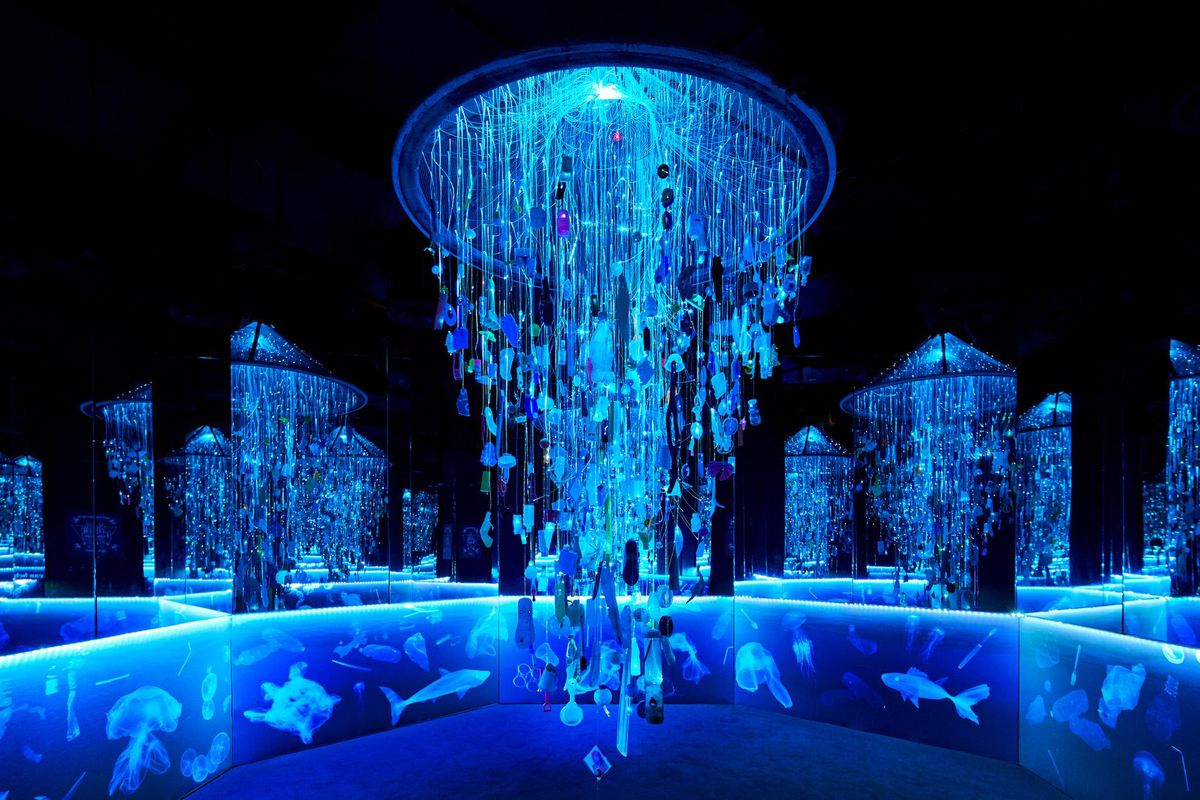 Installation made from glowing jellyfish.