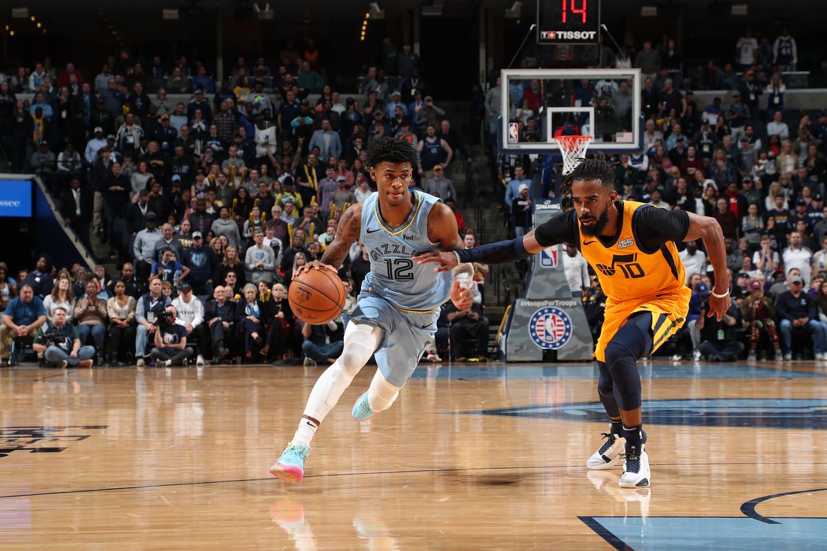 Ja Morant of the Memphis Grizzlies handles the ball against the Utah Jazz on November 15, 2019 at FedExForum in Memphis, Tennessee.