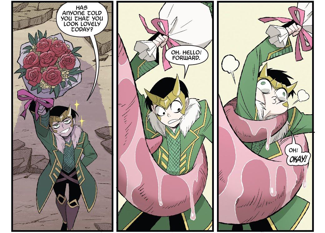 """""""Has anyone told you you look lovely today?"""" Loki says, offering a bouquet of flowers to a large shadowy figure. A large pink slobbery tongue beings constricting him. """"Oh, hello! Forward. Oh! OKAY!"""" he says as he is squeezed, eyes bugging out hilariously, in Thor & Loki: Double Trouble #2, Marvel Comics (2021)."""
