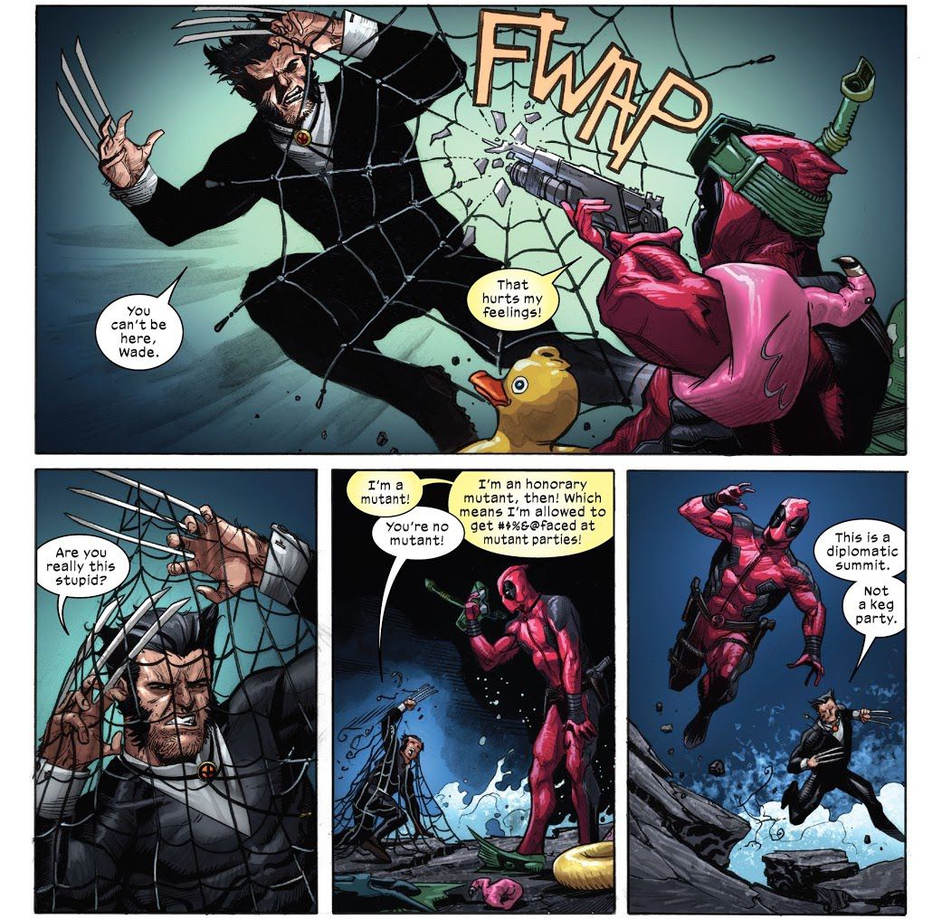 """Deadpool and Wolverine fight on the ocean-swept rocks, while arguing. """"I'm a mutant!"""" Deadpool protests. """"You're no mutant!"""" Wolverine retorts. """"I""""m an honorary mutant, then! Which means I'm allowed to get #$%&@faced at mutant parties!"""" in X-Force #20 (2021)."""