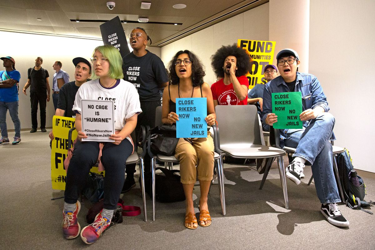 Incarceration-reform activists get vocal at City Planning Commission meeting as members voted to support the new borough-based jails plan, Sep. 3, 2019.