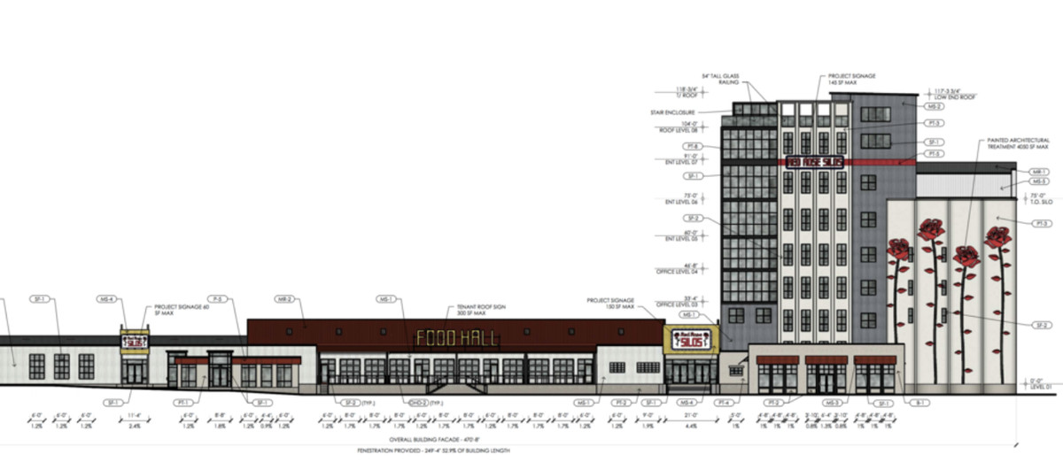 Rendering of buildings that include one-story storefronts and multi-level office buildings.
