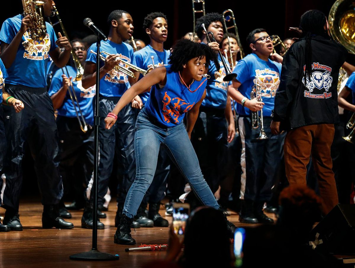Drum Major Aaliyah Allen (front) performs during KIPP Memphis Collegiate High School's Decision Day 2019 at The Cannon Center. KIPP seniors announced that the Class of 2019 were recipients of 384 acceptances to 110 unique colleges.