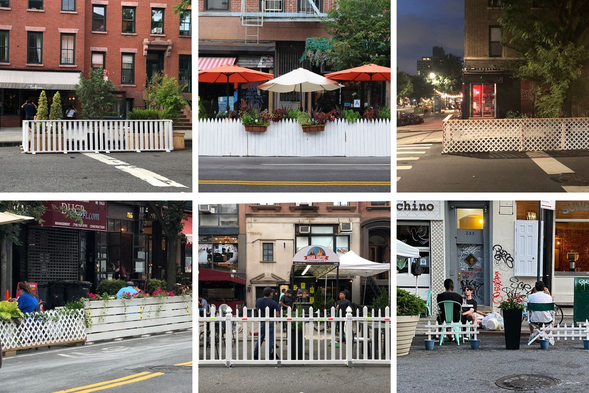 A grid of images of outdoor restaurants enclosed with picket fences and trellises painted white.