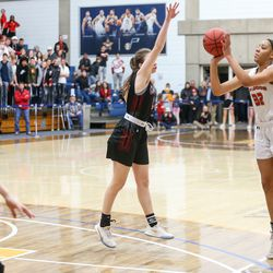 The Judge Memorial Bulldogs compete against the Grantsville Cowboys during the 3A girls basketball semifinals at the Lifetime Activities Center in Taylorsville on Friday, Feb. 21, 2020.