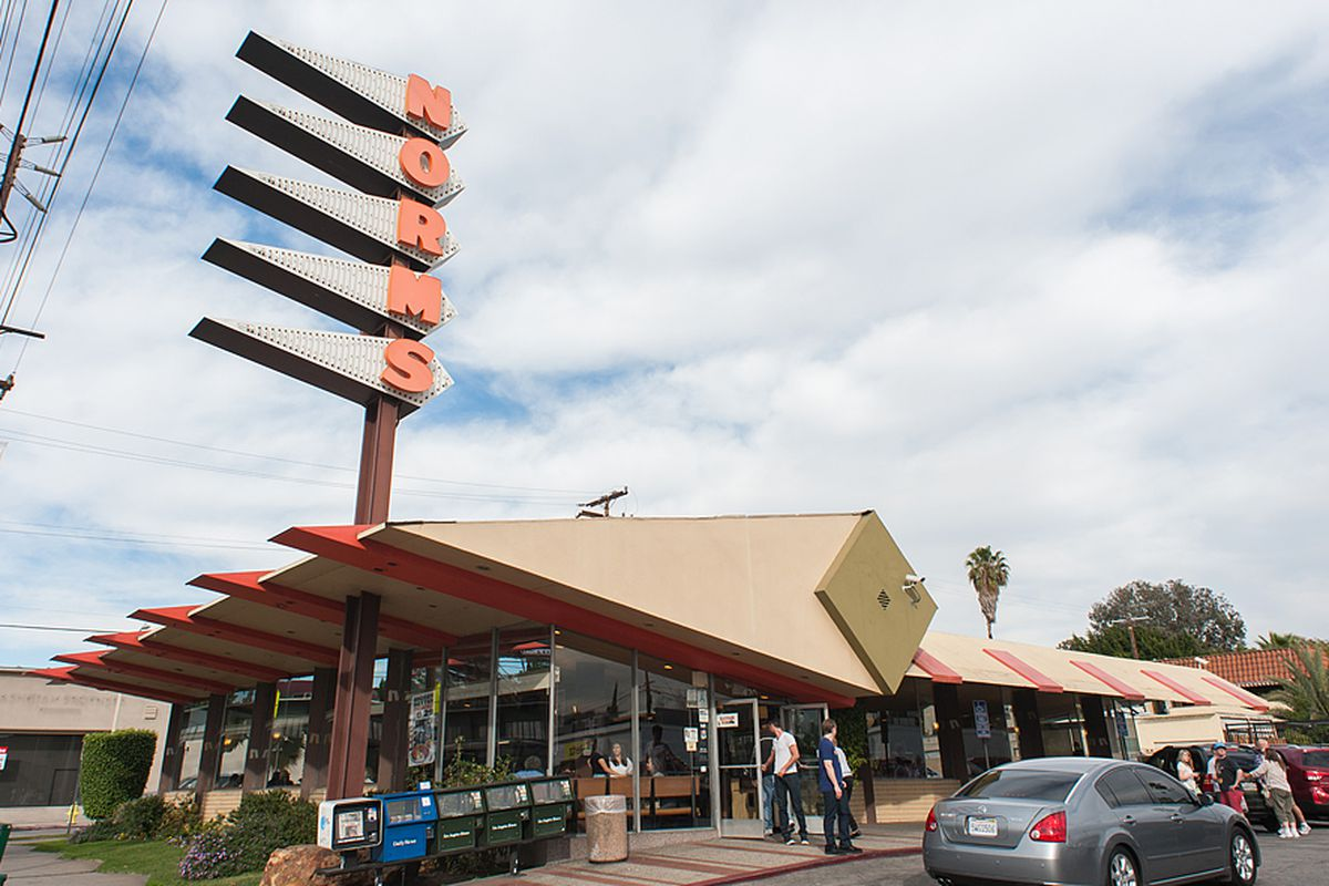The Googie architecture of a Norm's diner sign.
