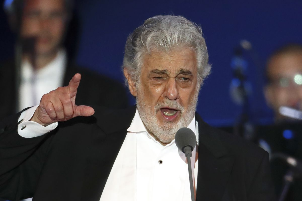 Opera singer Placido Domingo performs during a concert in Szeged, Hungary, in August 2019.