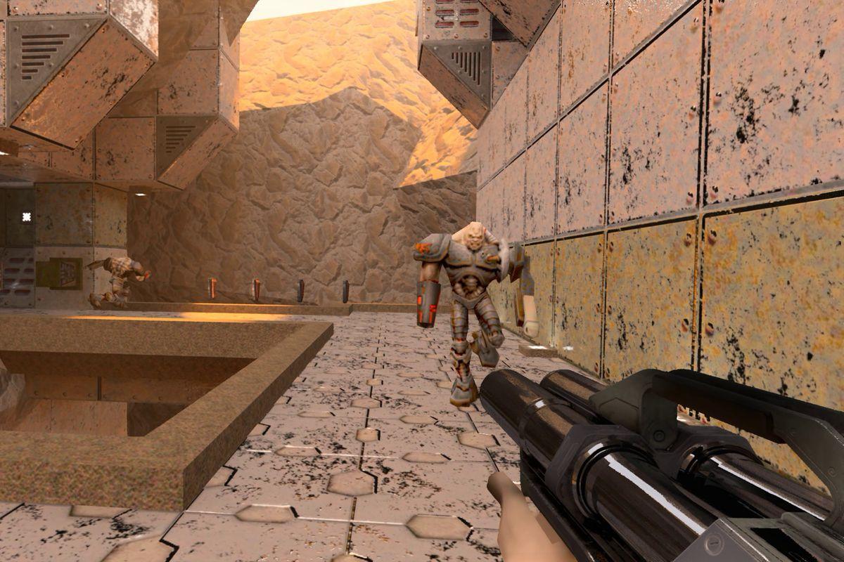 A shot of Quake 2's RTX version