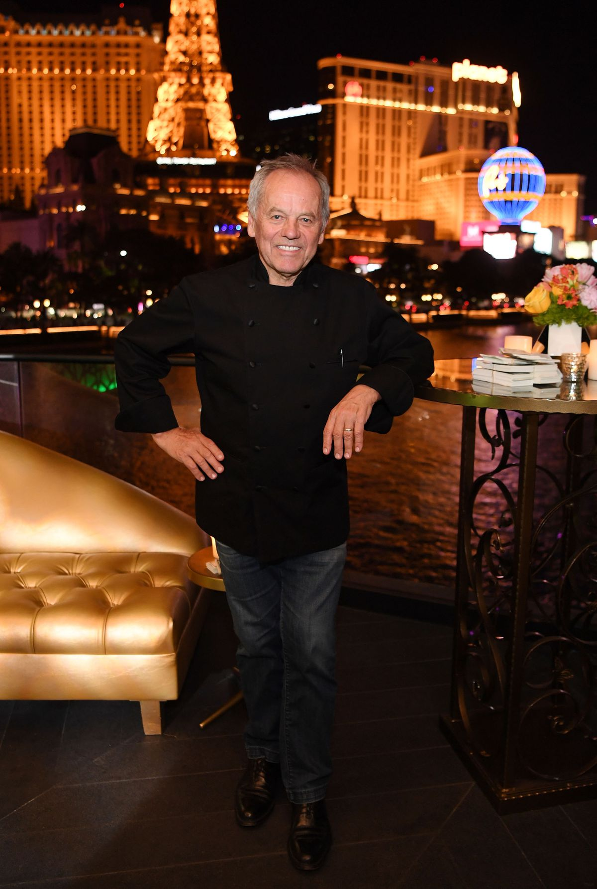 Wolfgang Puck on the patio of his new location of Spago at the Bellagio