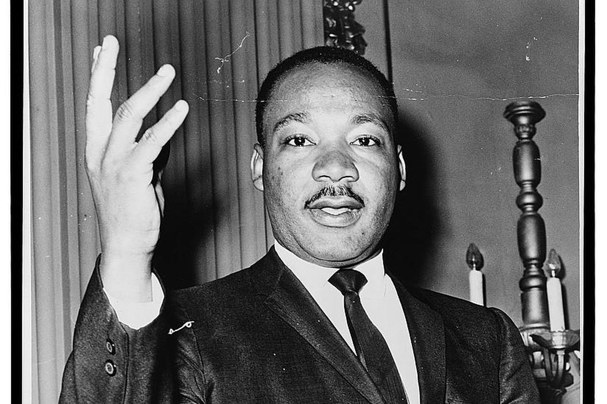 Dr. Martin Luther King, Jr., half-length portrait, facing front. Donated in the public domain by NYWT&S staff.