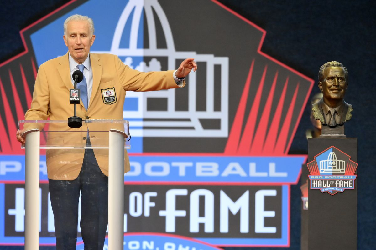 In this Aug. 7, 2021, file photo, Paul Tagliabue, a former NFL commissioner and a member of the Pro Football Hall of Fame Centennial Class, speaks during the induction ceremony at the Pro Football Hall of Fame in Canton, Ohio.