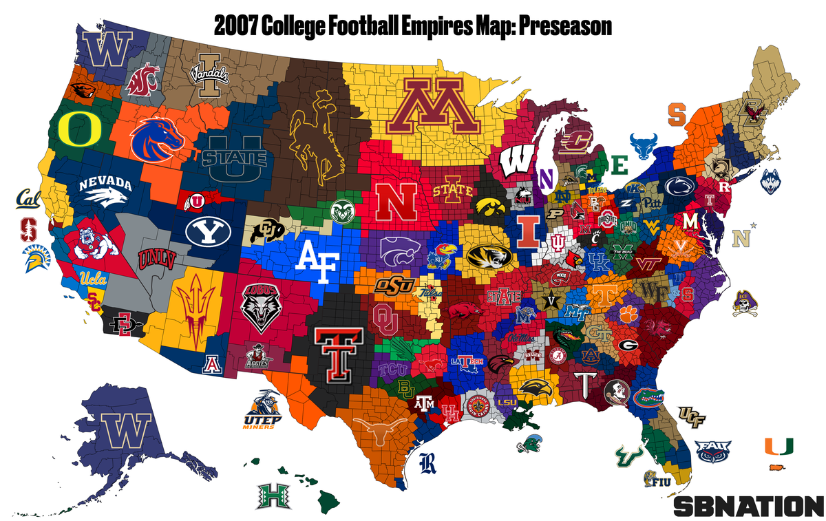 Because this is about 2007 only, teams that were FBS in 2007 make up the  original map.