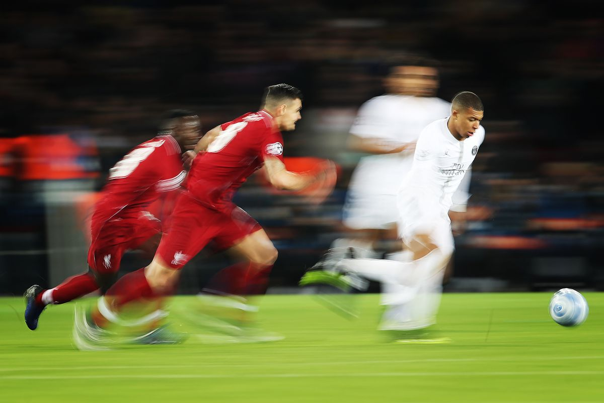 Kylian Mbappe of Paris Saint-Germain is seen in action during the Group C match of the UEFA Champions League between Paris Saint-Germain and Liverpool at Parc des Princes on November 28, 2018 in Paris, France.