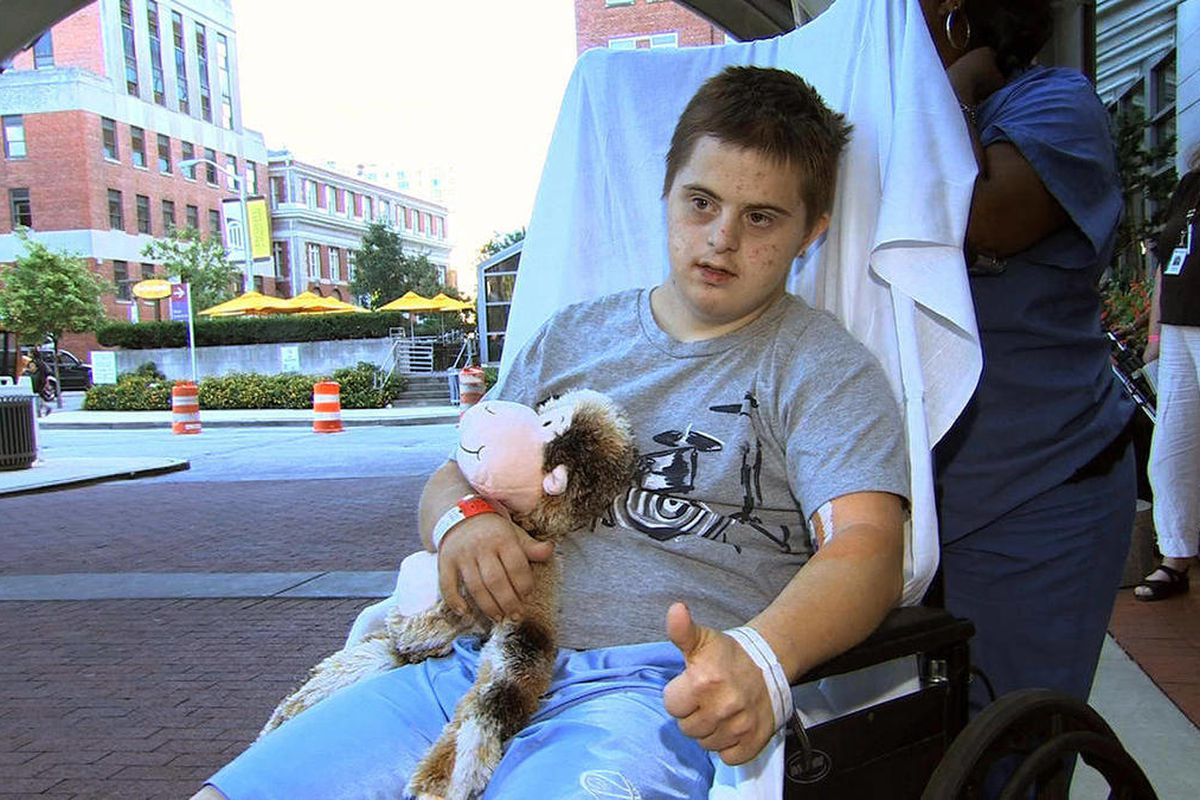 In this image from video, Daniel Borowy leaves the hospital in Baltimore, Monday, Sept. 10, 2012, to head home for the first time since being critically injured after he was shot by a classmate at a suburban Baltimore school on Aug. 27.