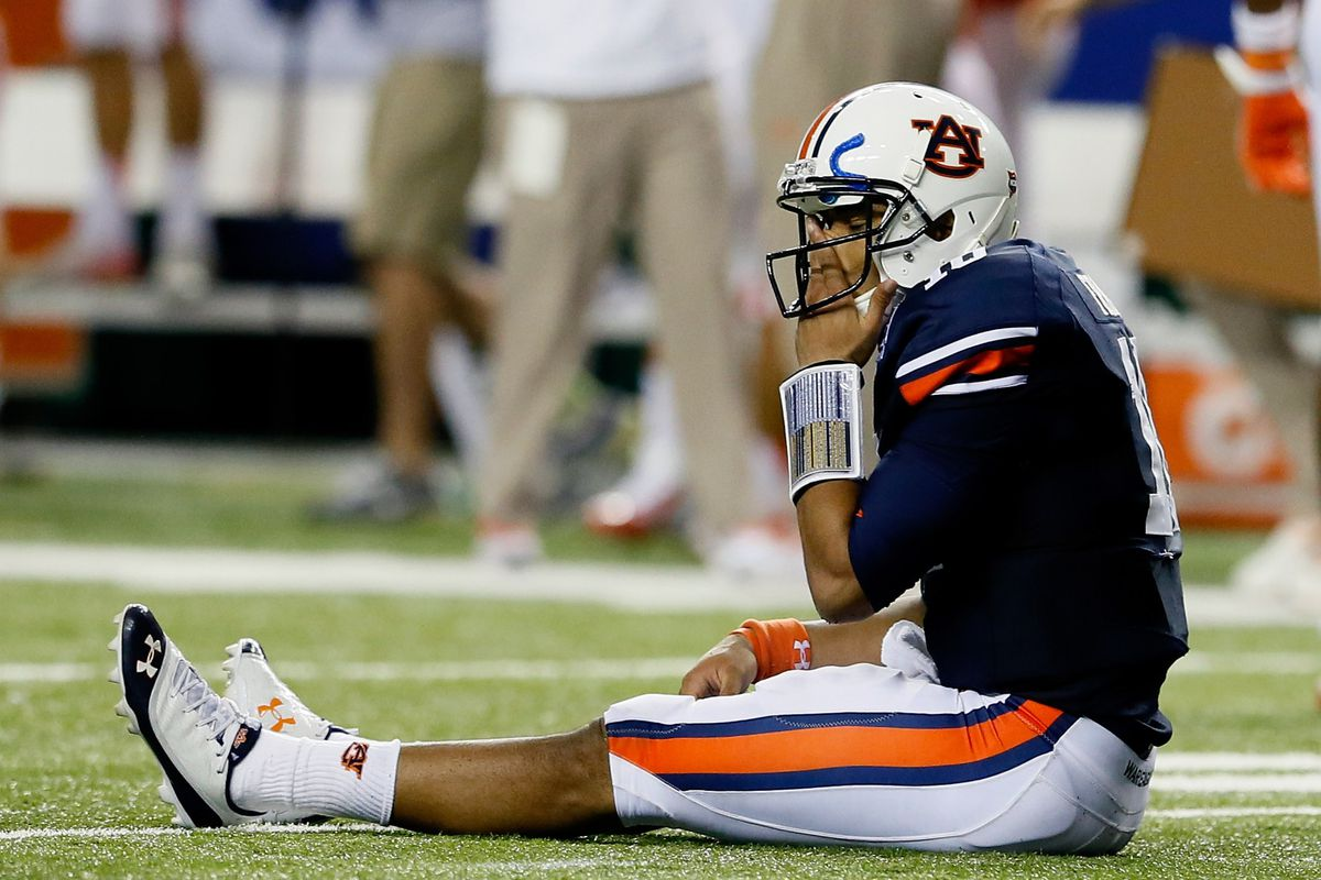 ATLANTA, GA - SEPTEMBER 01:  Kiehl Frazier #10 of the Auburn Tigers reacts as time expires in their 26-19 loss to the Clemson Tigers at Georgia Dome on September 1, 2012 in Atlanta, Georgia.  (Photo by Kevin C. Cox/Getty Images)