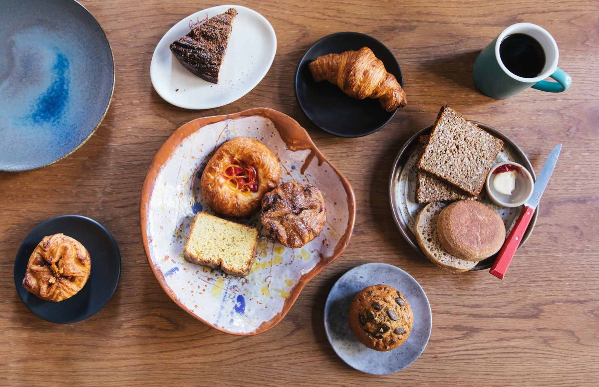 A spread of breakfast breads and pastries made by Zoe Kanan.