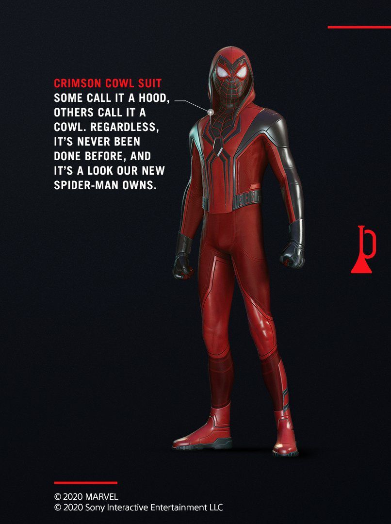 Miles Morales in his hooded, red, and black Crimson Cowl suit.