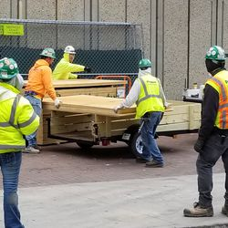 Workers unloading materials on Sheffield