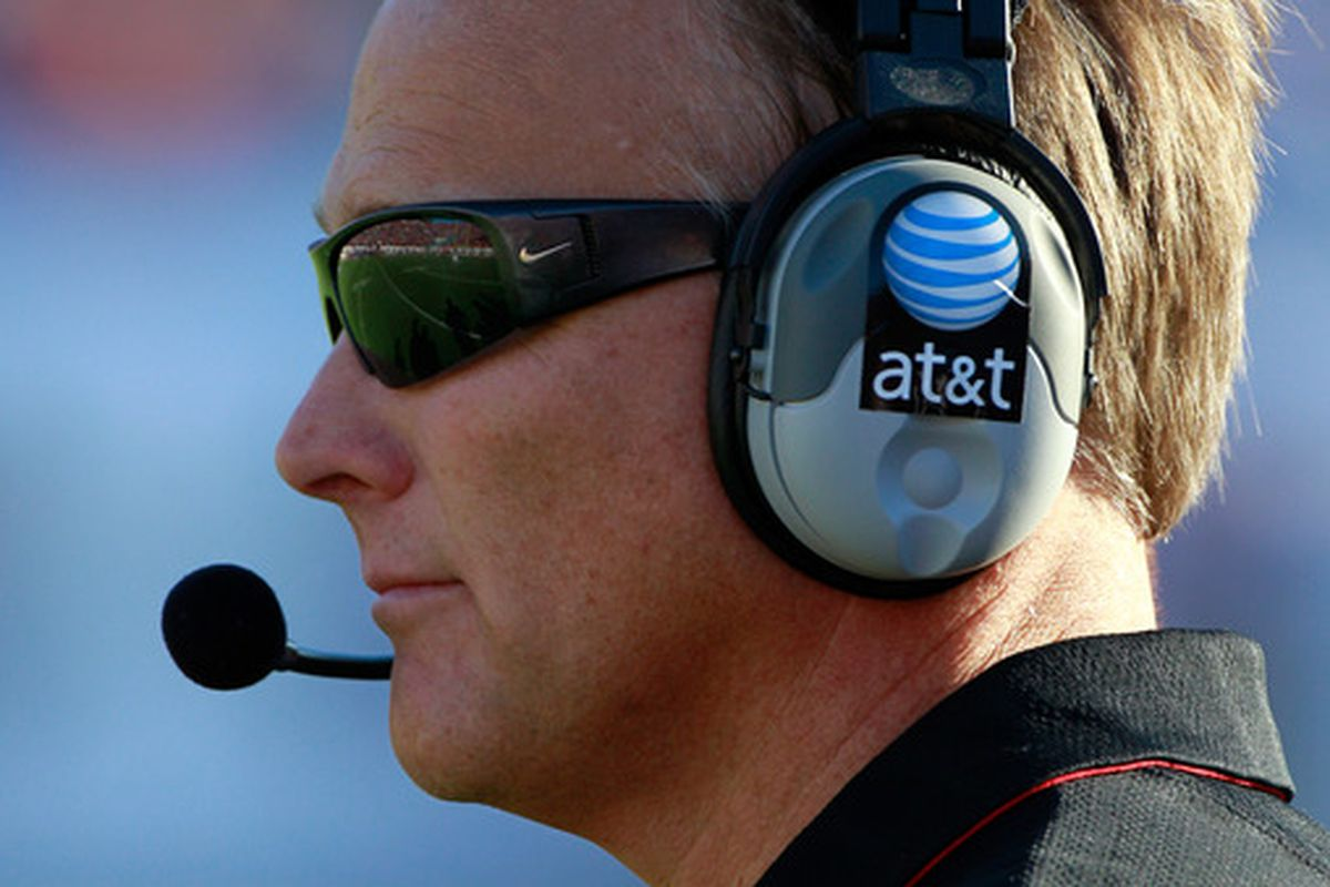 JACKSONVILLE FL - OCTOBER 30:  Head coach Mark Richt of the Georgia Bulldogs watches the action during the game against the Florida Gators at EverBank Field on October 30 2010 in Jacksonville Florida.  (Photo by Sam Greenwood/Getty Images)