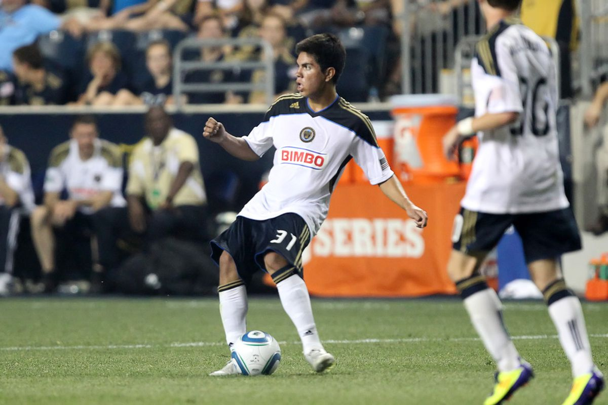 CHESTER, PA - JULY 20: Forward Christian Hernandez #31 of the Philadelphia Union controls the ball during a game against Everton at PPL Park on July 20, 2011 in Chester, Pennsylvania. The Union won 1-0. (Photo by Hunter Martin/Getty Images)