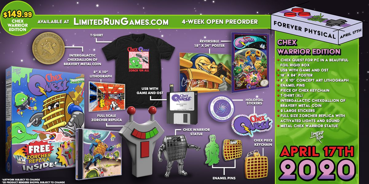 Artwork of the contents of the Chex Quest Chex Warrior Edition package from Limited Run Games