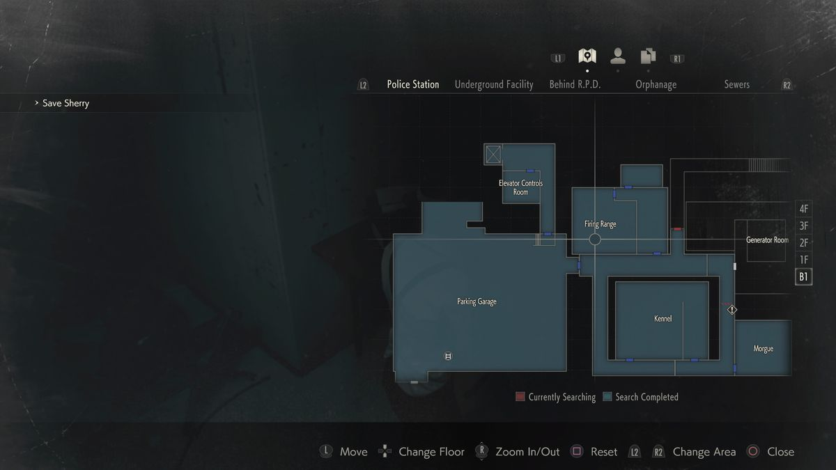 Resident Evil 2 Mr. Raccoon Firing Range location map