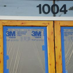 No expense, however, is being spared on the masking film covering the doors to block prying eyes.
