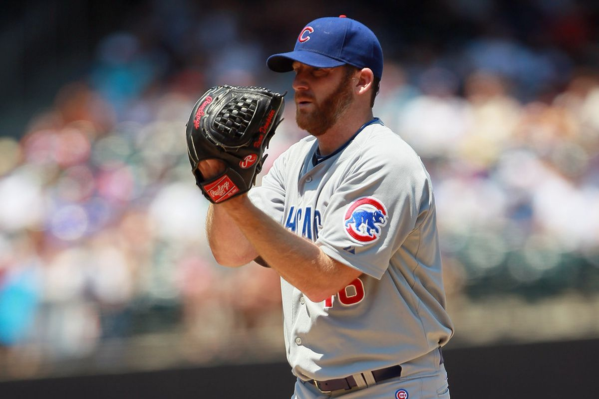 NEW YORK, NY - JULY 08:  Ryan Dempster #46 of the Chicago Cubs piches in the first inning against the New York Mets at CitiField on July 8, 2012 in the Flushing neighborhood of the Queens borough of New York City.  (Photo by Mike Stobe/Getty Images)