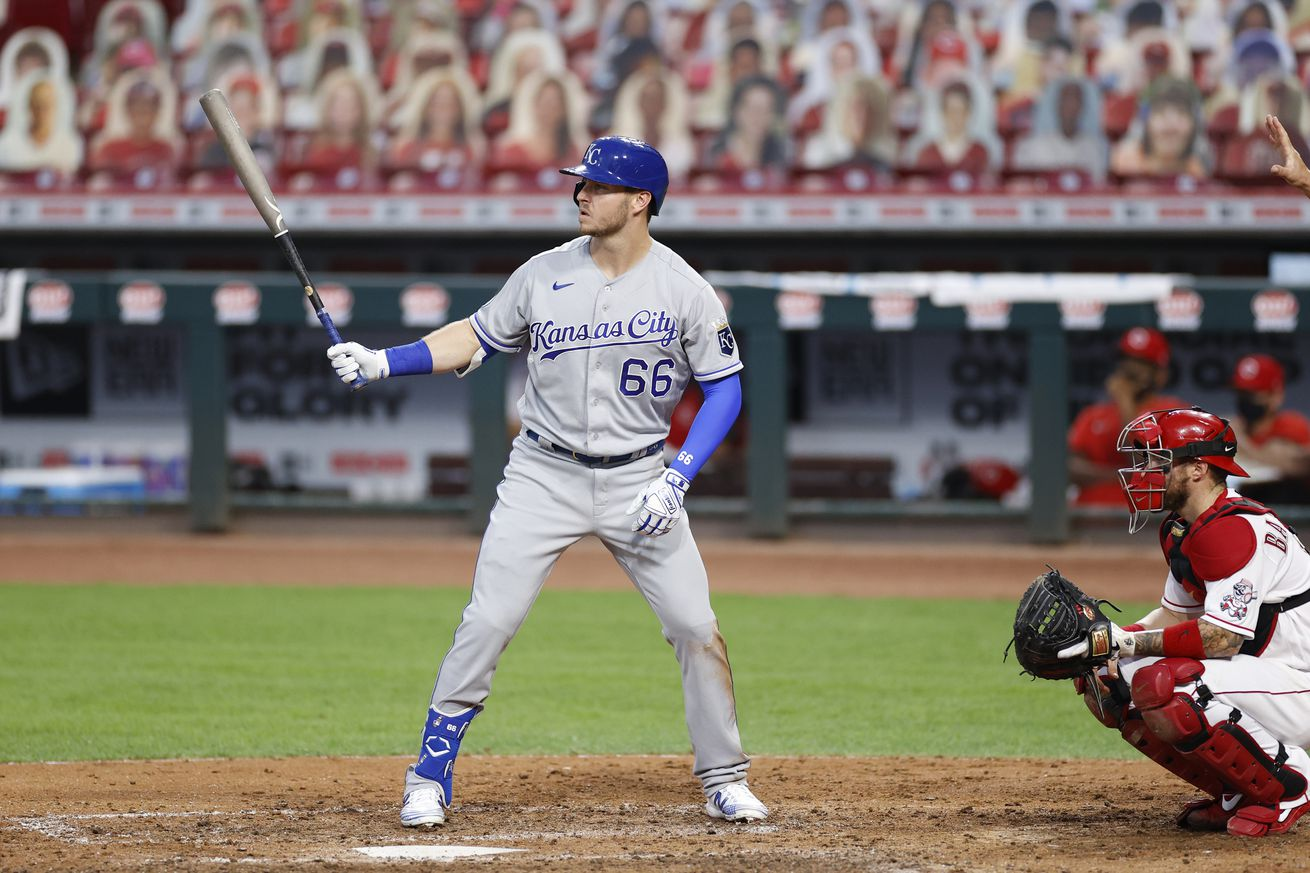 Ryan O'Hearn #66 of the Kansas City Royals bats during a game against the Cincinnati Reds at Great American Ball Park on August 12, 2020 in Cincinnati, Ohio. The Royals defeated the Reds 5-4.