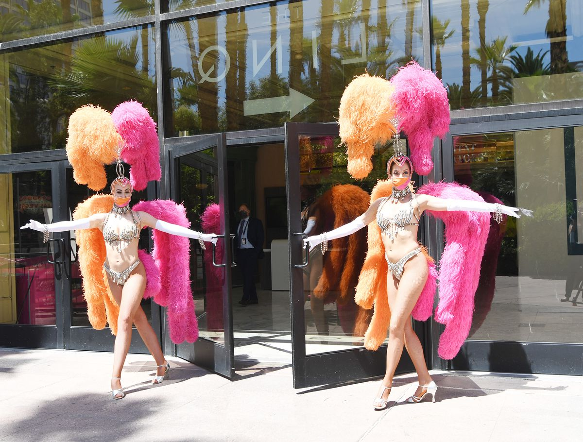 Showgirls helped the Flamingo Las Vegas reopen.