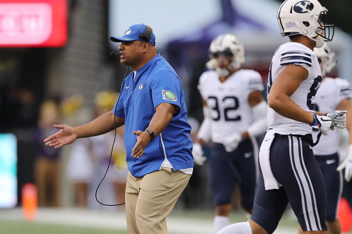 Brigham Young Cougars head coach Kalani Sitake shouts encouragement in Seattle on Saturday, Sept. 29, 2018.
