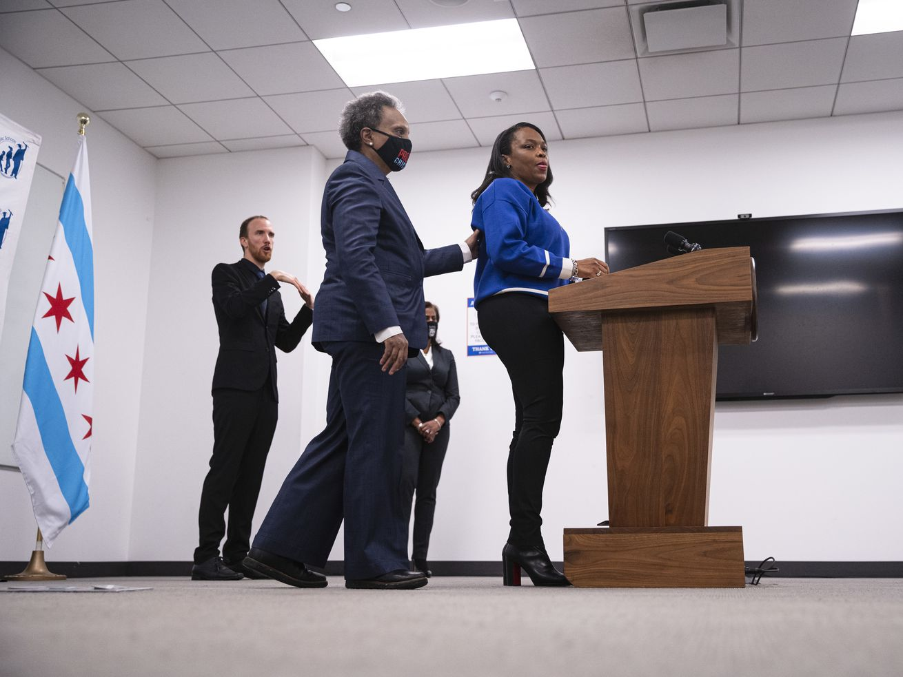 Mayor Lori Lightfoot approaches the lectern to answer a question during a press conference earlier this week to address the ongoing dispute between the Chicago Teachers Union and CPS over whether schools are safe enough to reopen.
